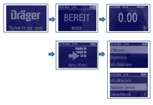 Dräger Alcotest Menu-Settings